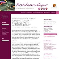 Kims matteprov – feedback på ett annorlunda sätt