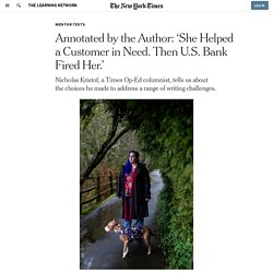 Annotated by the Author: 'She Helped a Customer in Need. Then U.S. Bank Fired Her.'