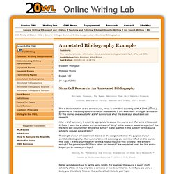 How To Do An Annotated Bibliography Purdue Owl