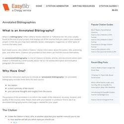 Annotated Bibliographies - EasyBib Blog