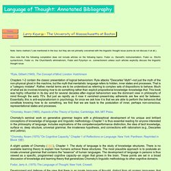 The Language of Thought: Annotated Bibliography
