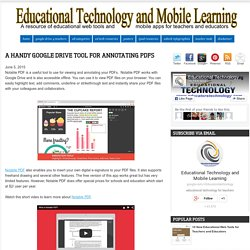 Educational Technology and Mobile Learning: A Handy Google Drive Tool for Annotating PDFs