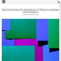 Back to School with Annotation: 10 Ways to Annotate with Students