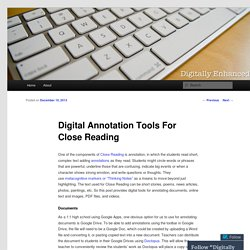 Digital Annotation Tools For Close Reading
