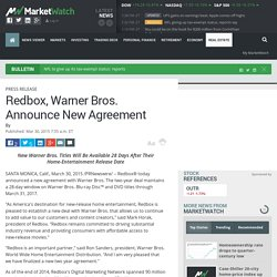 Redbox, Warner Bros. Announce New Agreement