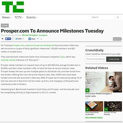 Blog Archive » Prosper.com To Announce Milestones Tuesday