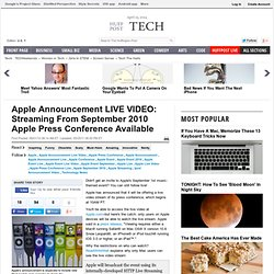 Apple Announcement LIVE VIDEO: Streaming From September 2010 Apple Press Conference Available
