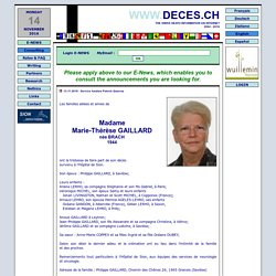 DECES.CH - Mortuary Announcement, Sympathy and Homage (CH) The swiss death information on internet