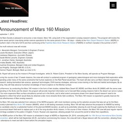 Announcement of Mars 160 Mission - Mars 160 Mission