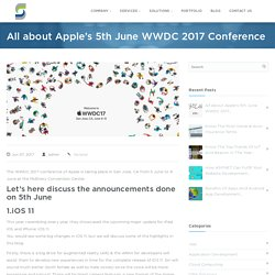 Announcements from Apple's WWDC 2017 Conference Held on 5th June