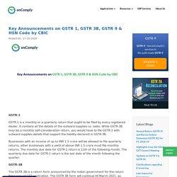 Key Announcements on GSTR 1, GSTR 3B, GSTR 9 & HSN Code by CBIC