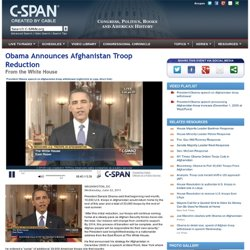 Obama Announces Afghanistan Troop Reduction