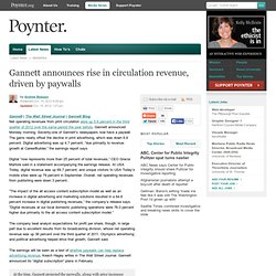 Gannett announces rise in circulation revenue, driven by paywalls