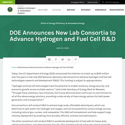 DOE Announces New Lab Consortia to Advance Hydrogen and Fuel Cell R&D