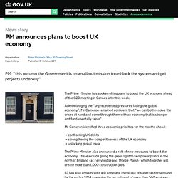 PM announces plans to boost UK economy