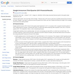 Announces Third Quarter 2011 Financial Results - Google Investor Relations