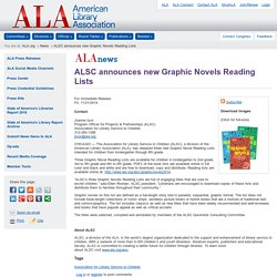 ALSC announces new Graphic Novels Reading Lists