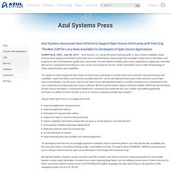 Azul Systems Announces New Initiative to Support Open Source Community with Free Zing JVM