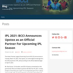 IPL 2021: BCCI Announces Upstox as an Official Partner For Upcoming IPL Season