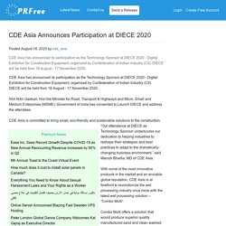CDE Asia Announces Participation at DIECE 2020
