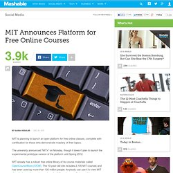 MIT Announces Platform for Free Online Courses