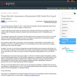 Tann Electric Announces Restaurant Gift Cards For Loyal Customers