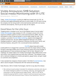 Visible Announces SMB Solution: Social media Monitoring with VI-LITE
