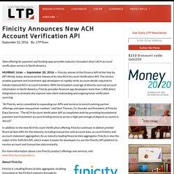Finicity Announces New ACH Account Verification API
