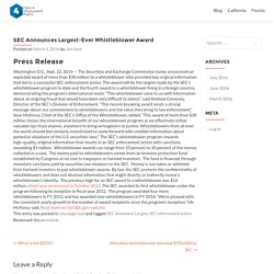 SEC Announces Largest-Ever Whistleblower Award