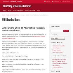 Announcing 2020-21 Alternative Textbook Incentive Winners
