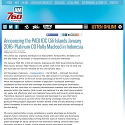 The PADI IDC Scuba Diving Instructor Training January 2016 in the Gili Islands