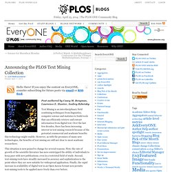 Announcing the PLOS Text Mining Collection | EveryONE