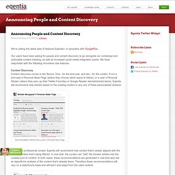 Announcing People and Content Discovery | Eqentia