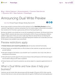 Announcing Dual Write Preview