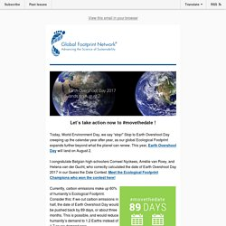 ANNOUNCING THE DATE of Earth Overshoot Day 2017