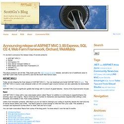 Announcing release of ASP.NET MVC 3, IIS Express, SQL CE 4, Web Farm Framework, Orchard, WebMatrix