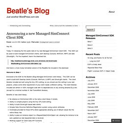 Announcing a new Managed SimConnect Client SDK « Beatle's Blog