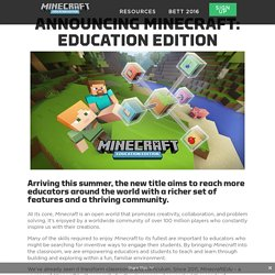 Announcing Minecraft: Education Edition