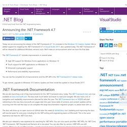 Announcing the .NET Framework 4.7