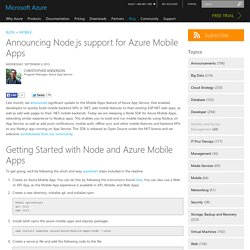 Announcing Node.js support for Azure Mobile Apps
