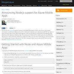 Announcing Node.js support for Azure Mobile Apps