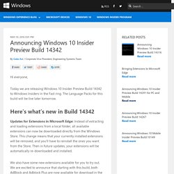 Announcing Windows 10 Insider Preview Build 14342