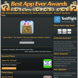 Announcing the winners in the Best Special Needs App category