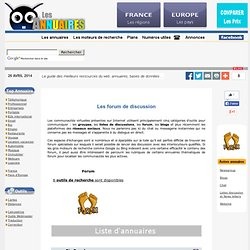 Forum :Annuaire et liste de forums de discussion en ligne
