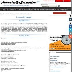 Community manager-Veille et recherche d'informations sur Internet- annuairedeformation.com