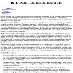Annual Report - Inter-American Indian Institute