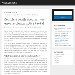 Annual error resolution notice PayPal Guide