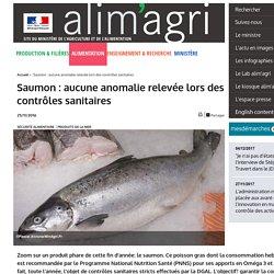 MAAF 25/11/16 Saumon: aucune anomalie relevée lors des contrôles sanitaires