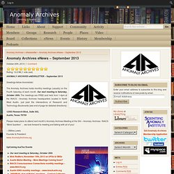 Anomaly Archives eNews – September 2013