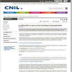 Le G 29 publie un avis sur les techniques d'anonymisation